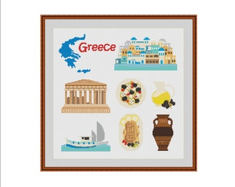 Cross stitch pattern, Athens Greece, Greece map, Parthenon, Acropolis, Greek art, Athens Acropolis, Greek food, Olive oil, PDF pattern, DIY