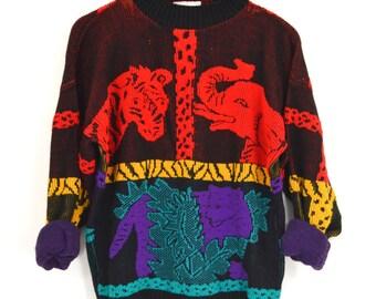 Vintage 80s African Safari Sweater | Colorful Africa Animal Sweater | Chunky Knit Tribal Sweater | Elephant Giraffe Leopard Sweater | Medium