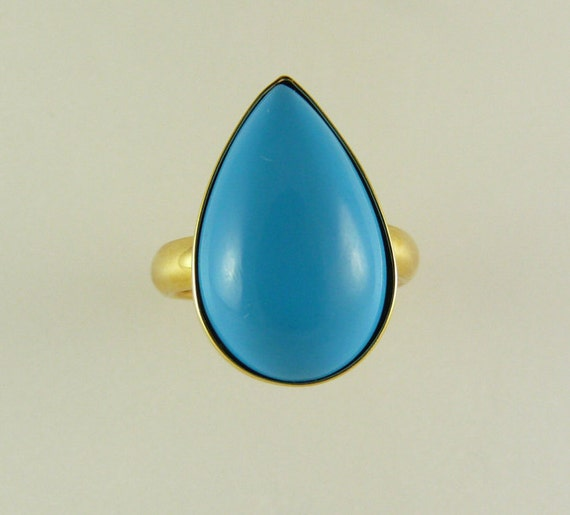 Reconstituted Turquoise Pear Shape Ring 14k Yellow Gold
