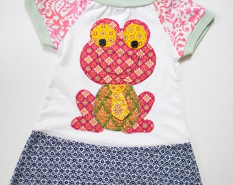Repurposed batik frog dress, size 12-18 months, girls upcycled dress