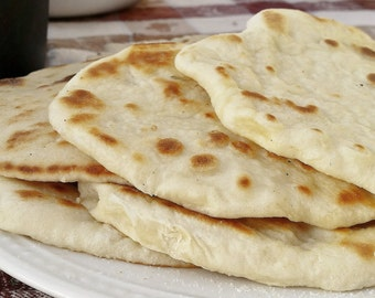 INDIAN NAAN Homemade Recipe, Middle Eastern Flat Bread, Scratch Bread Dough Recipe, Lebanese Food, Healthy Appetizer, Instant P.D.F. File