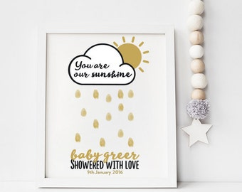 DIY PRINTABLE PERSONALISED Baby Shower Thumbprint Guestbook - You are our sunshine, showered with love fingerprint personalized