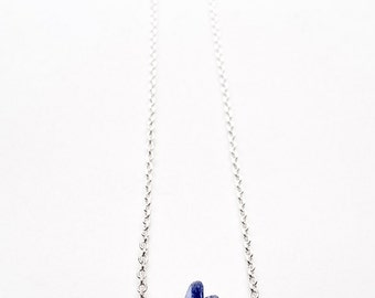 Cobalt Blue Sea glass and silver bar necklace - Nautical Necklace - Silver fill and  Cobalt Blue Glass Necklace - Maine made Jewelry