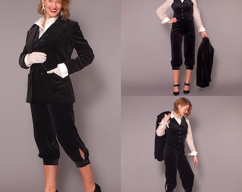 1970s Vintage Black Velveteen Knickers Vest and Jacket Three Piece Suit