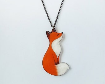 Original Art Fox Necklace, Orange Fox, Foxy, One-of-a-Kind Wearable Art