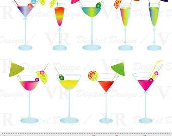 Summer Cocktails Clip Art, Summer Cocktail Drinks Clipart, Beverages Vector Digital Download Clip Art