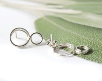 Small Hoop Earrings, Modern Post Earrings, Sterling Silver Studs, Modern Stud Earrings, Geometric Earrings,Silver Studs ,Circle Earrings.