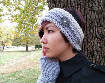 Silver Flower Knitted Headband