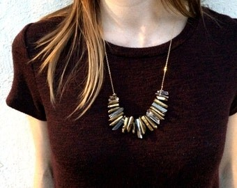 Long Statement Necklace / crystal necklace / chunky statement Necklace / anthropologie necklace / raw crystal / quartz crystal