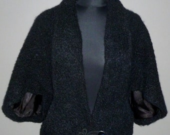Vintage 1940's Boucle Wool Cape Jacket UK 8 - 10