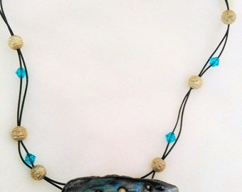 Paua shell pendant necklace with Swarovski crystals
