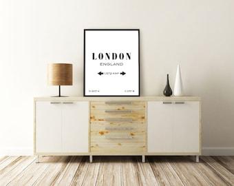 LONDON ART PRINT. London, England. London Wall Art. London Print. City Coordinates. Typography Art Print. Printable Art. Minimalist Poster.