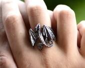 Dragon Ring.Dragon Pendant.Silver Dragon.celtic dragon.Dragon Gift.Game of thrones Ring.house targaryen.Fantasy Dragon. Dragon Necklace.