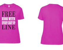 """PERSONALISED """"Free Hugs"""" Womens T shirt. hen party t shirts, womens funny t shirts, womens birthday gifts, valentines day gifts, mothers day"""