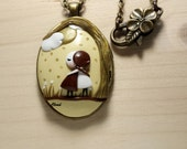 """Bronze and Silver Necklace polymer clay pendant - Polymer Clay Necklace, Colorfast Pendant Necklace : """"Fratenity"""""""