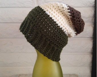 Boys slouch beanie, boys slouchy winter hat, green, brown and cream beanie hat, gift, accessories, fall, winter and spring fashion