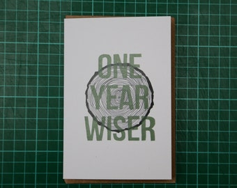 One Year Wiser Tree Stump Illustration A6 Birthday Card