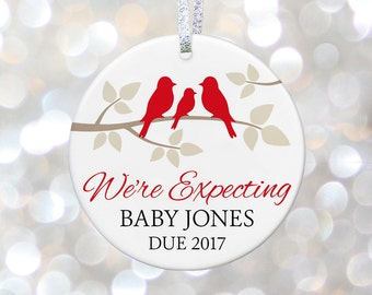 Expecting Ornament New Baby Shower Gift Pregnant Ornament Pregnancy Announcement Birth Announcement Personalized Ornament Adoption Gift
