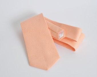 Light peach linen standard tie, mens neck tie, linen tie, wedding tie, groomsmen tie, wedding tie, light peach tie, boyfriend gift