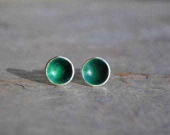 Dark Green Enamel Stud Earrings