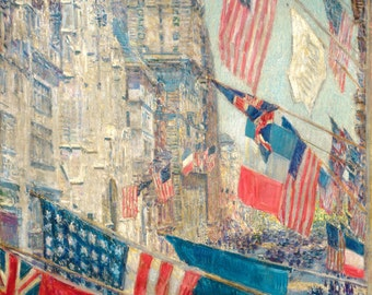 New York print, Fifth Avenue print, Childe Hassam print, Allies Day May 1917 print