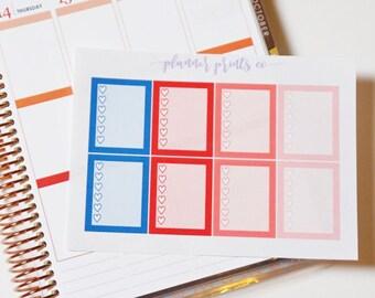 July Full Box Heart Checklist/Sidebar| Planner Stickers