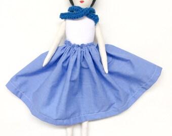 Soft doll, dress up doll, felt doll, rag doll, cloth doll, unique handmade doll,