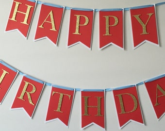 Red Happy Birthday Banner, Glitter Birthday Banner, Red Banner, Happy Birthday Banner, Gold Banner,