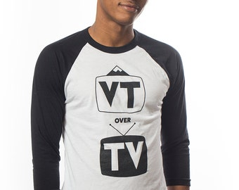"Men's ""VT over TV"" made in Vermont, long sleeve t-shirt"