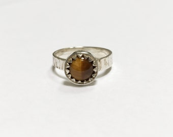 Natural Tiger Eye Silver Ring