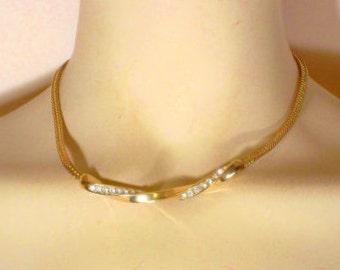 Vintage Goldtone Rhinestone Necklace  U3515 Prom jewelry
