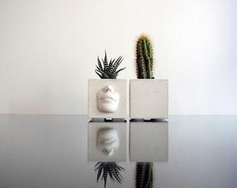 Set of 2 Concrete Planters - with a beautiful face, Concrete pot, Urban Home Decor Modern Planter, Flower pot, Concrete pot, Cactus planter