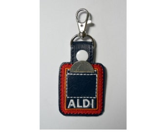 Aldi Quarter Holder Keychain, Aldi Quarter Keeper, Aldi Keychain, Aldi Key Chain, Square, Snap Tab, Key Fob, Key Ring,