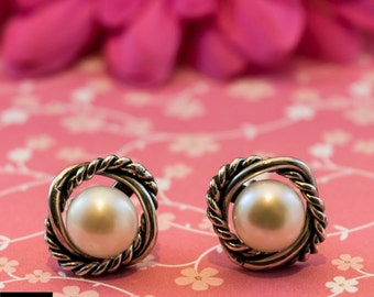 Earrings with pearls Sterling Silver, baroque style