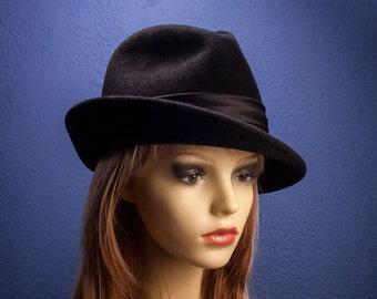 """Felt Hat """"Black-Dark"""", women's cloche hat in black, Classic Millinery Style"""