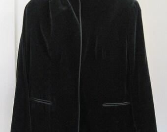 Evan Picone Black Velvet Jacket, Vintage
