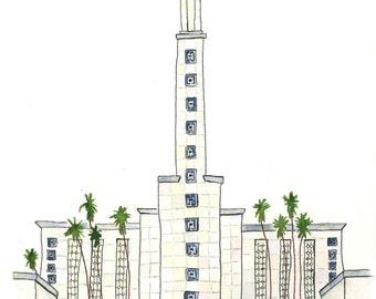 Los Angeles Temple-Watercolor