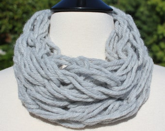 Small Silver Grey Single Arm Knit Scarf