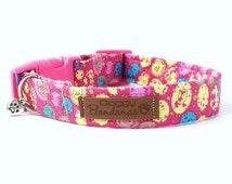Pink Dog Collar Polka Dot Female Dog Collar Trendy Fabric Dog Collar Organic Nylon Dog Collar For Girl Soft Dog Collar XSmall/Medium/Large