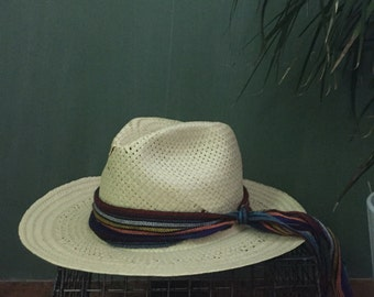 SALE Vintage Straw Fedora with Band Size Small