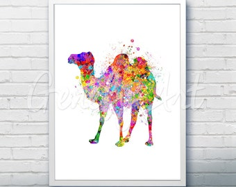 Camel Desert Watercolor Art Print  - Watercolor Painting - Camel Watercolor Art Painting - Wildlife Poster - House Warming Gift [1]