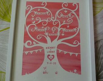 Handcut Papercut Family Tree Anniversary Gift