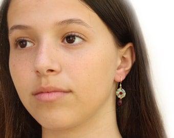 Red flower earrings, Red dangle earrings, Wire red earrings, Red drop earrings, Red crystal earrings