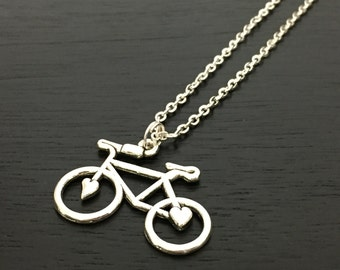 silver bicycle necklace, charm necklace, personalized jewelry, sport jewelry, birthstone necklace, initial jewelry, cyclist gift, bike lover