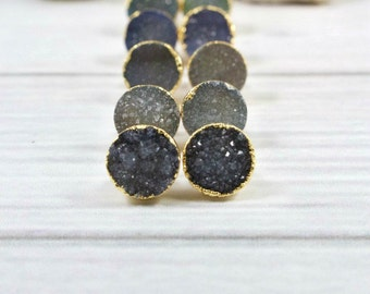Druzy Earrings, Druzy Stud Earrings, Druzy Post Earrings, Druzy Gold Earrings, 14k gold Filled Stud Earrings, Druzy Jewelry, Gold Post