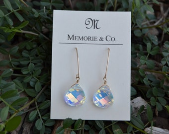 Swarovski Crystal Drops on 14K Gold Filled V Shaped Earrwires