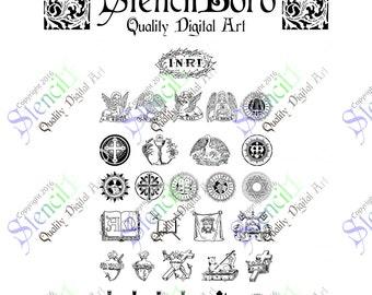 Christian Symbols Pack 30 Crosses SVG File Files Vector INRI 10 ten Commandments Sacred Heart Pope Papal Communion Harp