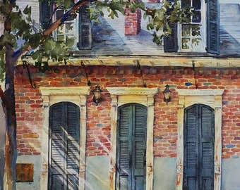 Historic architecture,New Orleans French Quarter Creole cottage, print of watercolor painting