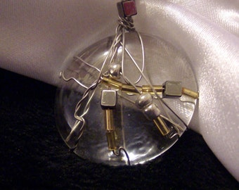 Round wire wrapped Mosaic glass pendent with metalic and glass beads