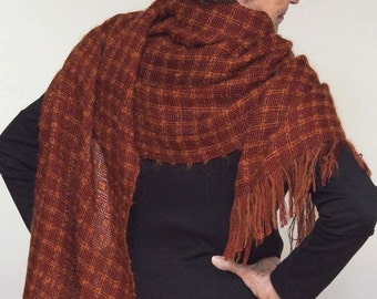 Handwoven shawl, large scarf in mohair and tencel, dark rust. Handwoven pashmina wrap. Large dark rust scarf.